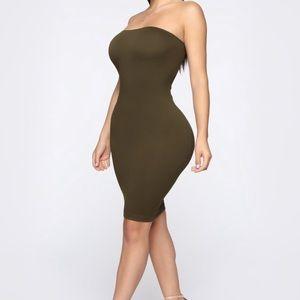 Olive green tube mini dress